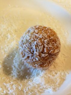 Pumpkin Cookie Dough balls covered in unsweetened coconut flakes! #Whole30 approved!  Save for a very dark day.......