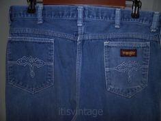 Vintage-1980-039-s-Wrangler-Denim-Jeans-Talon-Zip-Made-USA-Loose-Straight-Leg-32x31