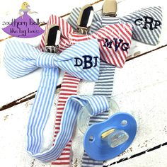 These adorable bow tie pacifier clips make fabulous baby shower gifts! They will be the hit of the party! Available in multiple colors with monogramming.