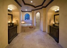 I better find pick a well paying career... Mediterranean Bathrooms from Jorge Ulibarri on HGTV