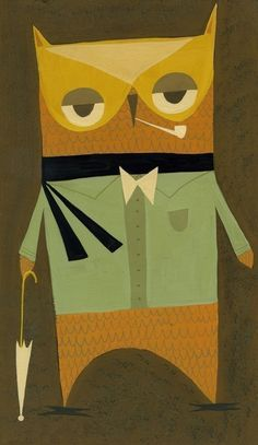 Mr. Owl. 8.5x11 limited edition print of an original gouache painting by Matte Stephens.  From matteart on etsy (35 dollars)