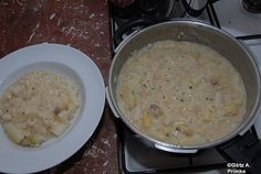 Spargel-Risotto mit Prosecco Risotto, Prosecco, Cheeseburger Chowder, Oatmeal, Soup, Breakfast, Greedy People, Cooking, The Oatmeal