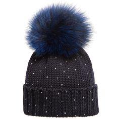 Regina Blue Wool Hat with Fur Pom-Pom Fur Pom Pom e5b2824483f9