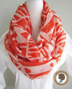 Modern Orange Printed Soft Lightweight Loop by UrbanLadyScarves
