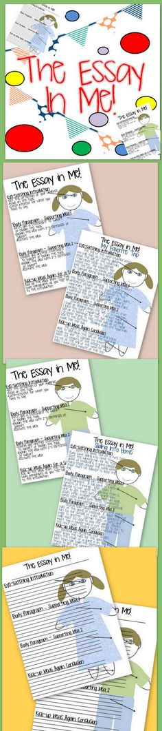 """Do you need a graphic organizer that will help your students remember 4 main paragraphs to include in an essay? This resource can help accomplish that goal. With step-by-step sections that tell you how to help a student remember the """"eye-catching"""" introduction, two supporting body paragraphs, and the """"kicking-up ideas"""" previously stated conclusion, your students can remember how to build the parts as related to their own body."""