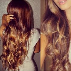 GORGEOUS auburn hair with blonde ombre and perfect curls.