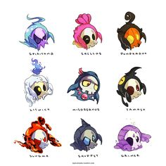 "myiudraws: "" Duskull #355 Variations/Crossbreeds Added another sheet of crossbreeds to these little ghost babies. My favs are litwick and slugma. Let me know which you like (: Instagram """