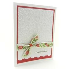 Wedding Card - Handmade - White Damask