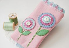 felt, embroidered phone case - pink, flowers