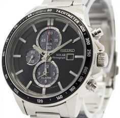 Incredible prices on watches like Seiko Solar Chronograph Alarm Men's Watch has Stainless Steel Case, Stainless Steel Bracelet, Solar Powered, Caliber: Big Watches, Best Watches For Men, Stylish Watches, Seiko Watches, Cool Watches, Omega Seamaster 300, Omega Seamaster Automatic, Seiko Solar, Authentic Watches