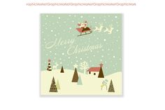 Check out Christmas hand drawn retro cards by GraphicMarket on Creative Market