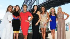 The cast of The Real Housewives of Melbourne in Sydney. Pettifleur wearing Leiela's White Fleur with Fishtail Gown