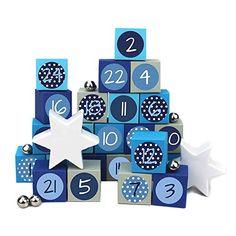 24 Adventskalender Kisten - zum selber befüllen - mit 24 Zahlenaufklebern - mit blau-grauen Kisten - von Papierdrachen Bunt, Advent Calendar, Holiday Decor, Home Decor, Crates, Cardboard Paper, Boxes, Decals, Presents