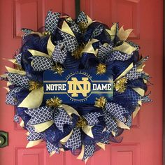 Your place to buy and sell all things handmade Graduation Celebration, Graduation Gifts, Monster Wreath, Sports Wreaths, Football Wreath, Different Holidays, Birthday Gifts, Birthday Wreaths, Deco Mesh Wreaths