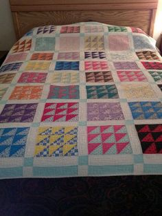 Vintage Quilt Block with Triangles | eBay