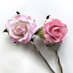 Rose Pink Mulberry Paper Flower Kirby Grips x2 Hair Pins Bobby Pins, Handmade, Hair Accessory. $10.00, via Etsy.
