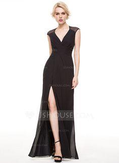 [R$ 360.56] Tubo Decote V Longos tecido de seda Vestido de festa com Pregueado Frente aberta (017086912)