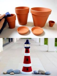 New Baby Shower Boy Decorations Nautical Center Pieces Ideas Baby Shower Decorations For Boys, Baby Shower Themes, Baby Boy Shower, Clay Pot Lighthouse, Deco Marine, Decoration Vitrine, Nautical Party, Navy Party, Clay Pot Crafts