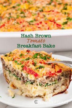 Hash Brown Tomato Breakfast Casserole - Chew Out Loud