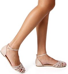 Nude Stone Caged Flats