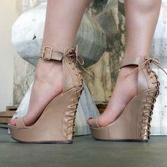 Corset View Platform Wedges | MyShoeBazar - Top Deals, Hot Shoes, Sexy Heels, Stylish Boots