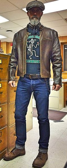 Brave Star 18.5oz Selvage raw denim jeans, Social Distortion t-shirt, Stetson wool cap, Ray Ban specs, 1960's Lesco Horsehide motorcycle jacket, 1970's leather belt with copper buckle, my Grandpa's 1950's chain wallet, Red Wing 8111 Iron Ranger Boots.