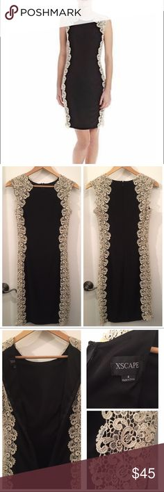 Black bodycon dress Black bodycon dress with soft gold lace sides. Worn once to a wedding. Xscape Dresses