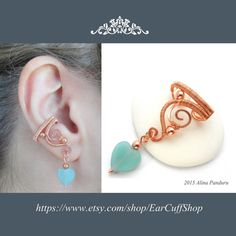 Amazonite Dangle Ear Cuff, Wire Wrapped Blue Gemstone Ear Cuff Heart Earcuff Copper Ear Cuff Earring Copper Ear Cuff Jewelry, Valentine Gift  Handmade Wire Wrapped Copper Gemstone Ear Cuff - LOVE YOU TENDER - An Excellent Gift Idea for Yourself or Someone Special  A Simple yet very Elegant dangle ear cuff for the right ear, modeled from solid copper wire that I have hammered for strength and for the sake of playing with various metal textures in order to create this little piece of art. A…