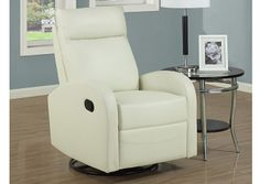 Monarch 8080IV - Ivory Bonded Leather Swivel Rocker Recliner | Sale Price: $435.00