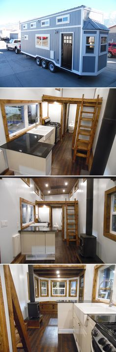 This tiny house with a 1000 watt solar kit, 50-gallon water tank, and composting toilet allows the owner to live off-grid for long stretches of time.