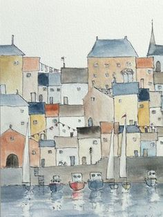 original watercolor painting of a harbor town by atelier28 on Etsy. $54.00, via Etsy.