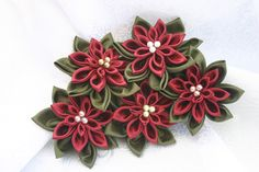 Poinsettia Bouquet fabric flowers.  Christmas in July. Fabric Flower Christmas Centerpieces Forget Me Not Blooms.com