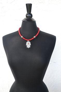 Hamsa Necklace  Hand of Fatima Necklace  Silver by MarcieRoxx