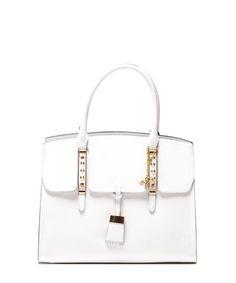 Off-white leather structured grab bag Sale - Renata Corsi Sale