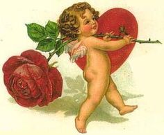 Vintage cupid Valentine with red rose and heart.