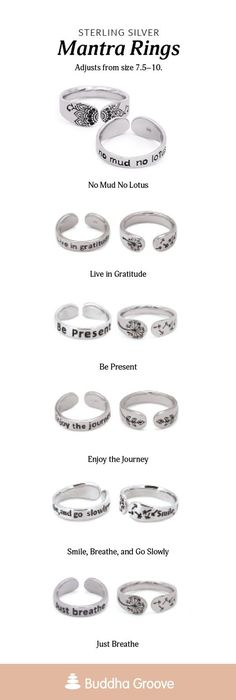 Mantra Rings. No Mud No Lotus. Live in Gratitude. Be Present. Enjoy the Journey. Smile, breathe, and go slowly. Just Breathe. Grimoire Book, Inspirational Jewelry, Spiritual Teachers, Just Breathe, Uplifting Quotes, Buddhism, Mantra, Bobs, Custom Jewelry