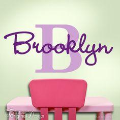 Girls Monogram Vinyl Wall Decals, Name & Initial for Your Bedroom Decor, Baby Nursery, Toddler, Custom Wall Art, Brooklyn