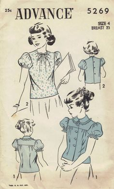 Advance 40s Sewing Pattern School Girl by AdeleBeeAnnPatterns, $12.50