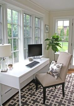 home office desk in front of window - Google Search