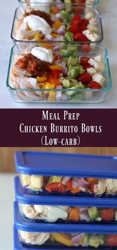Chicken Burrito Bowl: Low-carb meal prep recipe - Organize Yourself Skinny - Meal Prep Low-Carb Chicken Burrito Bowls Best Picture For steak recipes For Your Taste You are lo - Low Carb Recipes, Diet Recipes, Healthy Recipes, Lunch Recipes, Easy Recipes, Recipies, Atkins Recipes, Recipes Dinner, Healthy Meal Prep