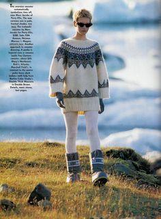 US Vogue November 1990   Polar Effects   Model: Karen Mulder; Kirsten Owen   Photographer: Hans Feurer   Fashion Editor: Grace Coddington  Hair: Didier Malige  Makeup: Tomoko