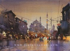 "Prafull Sawant, Evening at Istanbul 55 x 75 cm.  Derived from, copied from, Chien Chung Wei's ""The Moscow Nocture No. 3"""