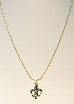 "510621 Black Small Fleur de Lis 18"" Snake Chain"