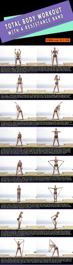 Total Body #Workout with a Resistance Band. Slash major calories and sculpt from head to toe.