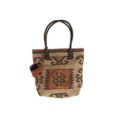 Kilim Bag with leather handle in natural ethno style, Boho Tasche, Oriental Style, Handtasche, Kelim Tragetasche