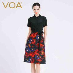 VOA2016 nova primavera Europa vestido de seda cor retro elegante vestido de manga curta fêmea magro A6813
