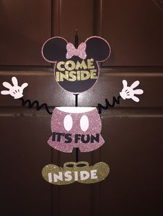 Minnie Mouse Pink and Gold Glitter Door Hanger  by ParadiseParties