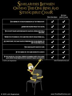 """Similarities between sitting first chair and """"the one ring,"""" from Tone Deaf Comics' latest post."""