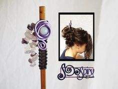 Ethnic lilac wire hair chopstick,ethnic wire hair pin,wire hairstick,hippie style hair stick, ethnic hair accessory, hairstick with amethyst