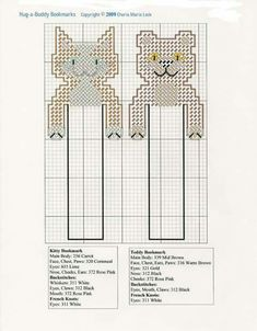 Kitty and teddy bookmarks